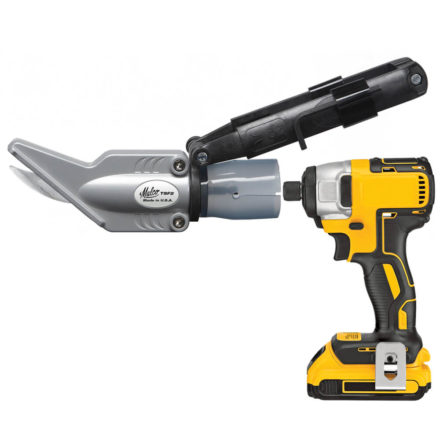 Malco's TSF2 Backer Board Shear attachment next to a yellow impact drill
